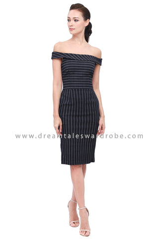 DT1160 Bardot Stripes Dress -  Blue