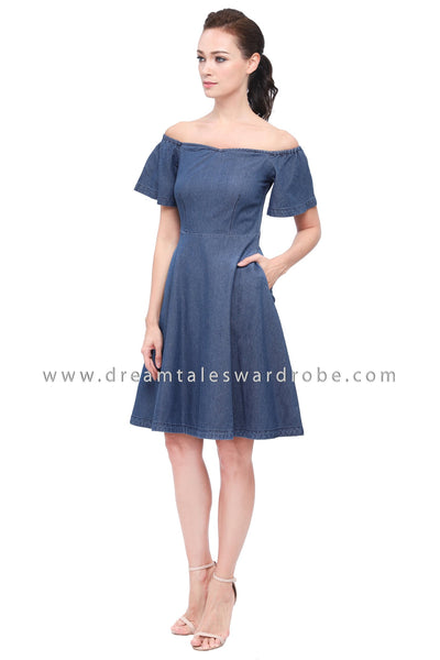 DT1161 Flare Sleeves Jeans Dress -  Blue