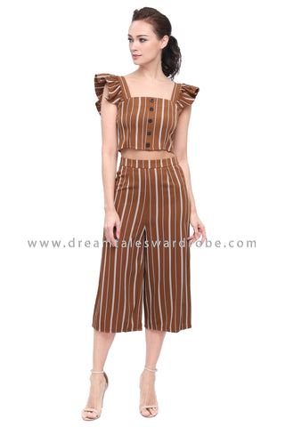 DT1162 Ruffles Top & Culottes Pants Set -  Khakis Brown