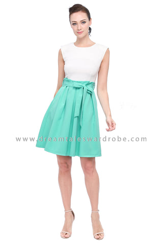 DT1164 Pleated Details Fit & Flare Dress -  Green