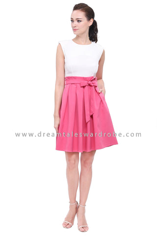 DT1164 Pleated Details Fit & Flare Dress - Pink