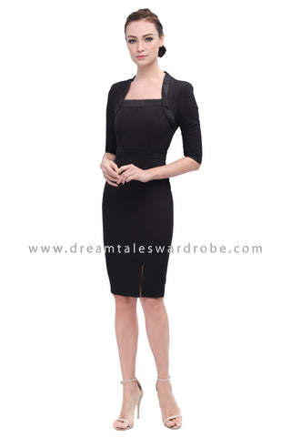 DT1165 Contrast Square Neck Dress - Black