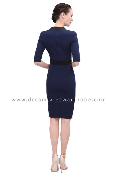 DT1165 Contrast Square Neck Dress - Blue