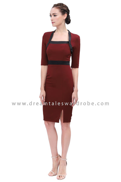 DT1165 Contrast Square Neck Dress -  Maroon