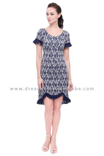 DT1166 Ruffles Details Shift Dress ( Luxe ) - Blue