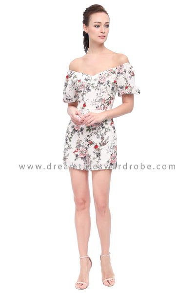 DT1168 Floral Puffty Sleeves Playsuit -  Cream
