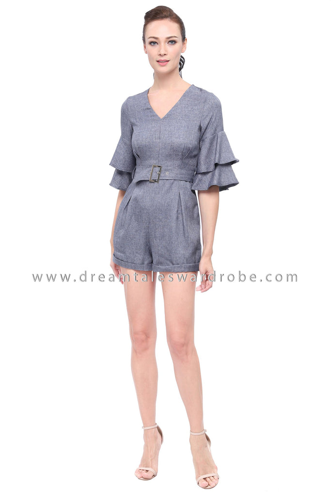 DT1170 V Neck Ruffles Sleeves Playsuit - Blue
