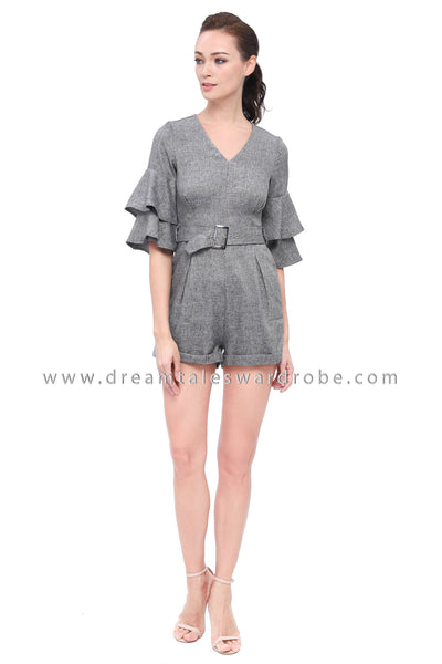 DT1170 V Neck Ruffles Sleeves Playsuit -  Gray