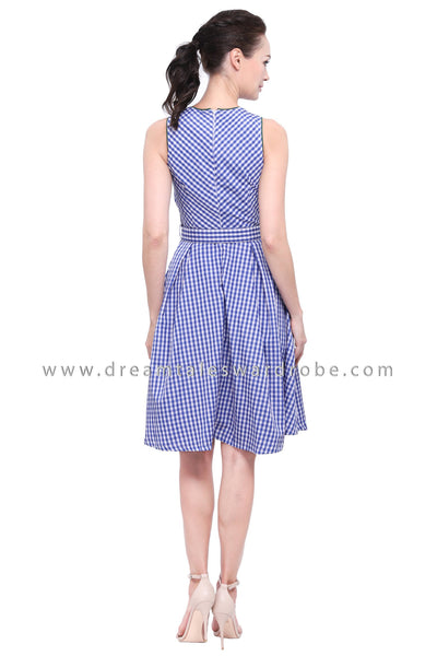 DT1171 Checkers Fit & Flare Dress -  Blue