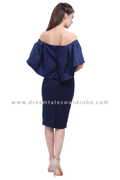 DT1174 Off Shoulder Floral Jacquard Dress -  Blue