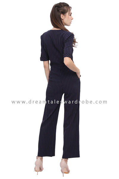 DT1178 Stripes Collared Details Jumpsuit -  Blue