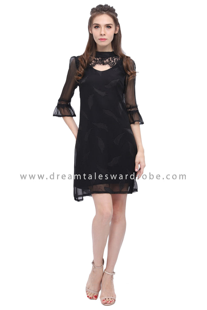 DT1182 Cutout Lace Details Shift Dress - Black