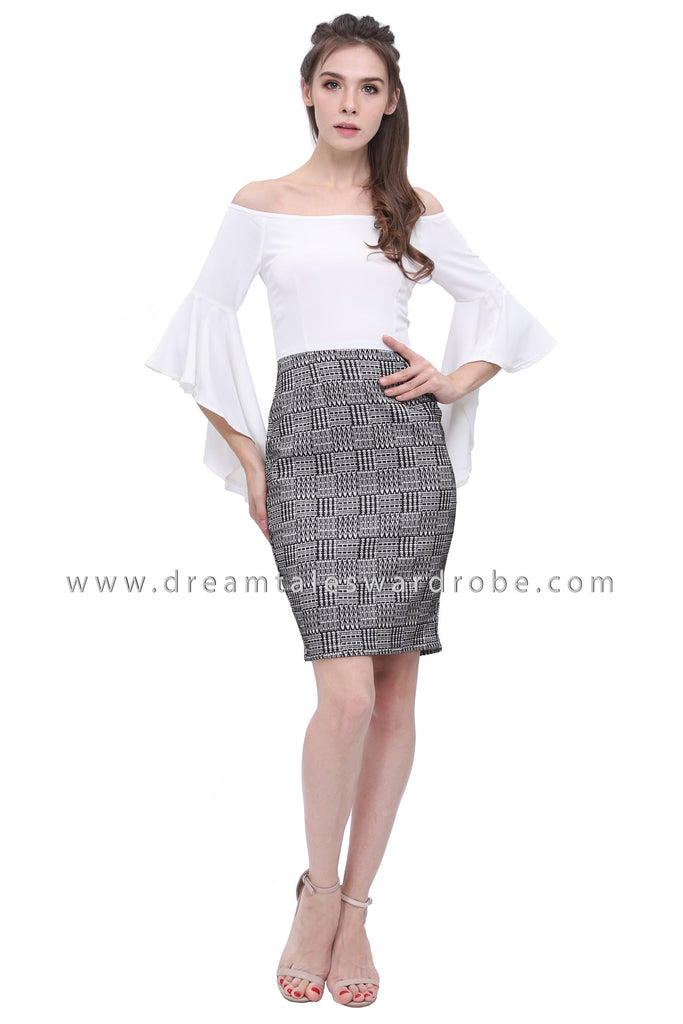 DT1185 Fluted Sleeves Checkers Blend Dress -  White