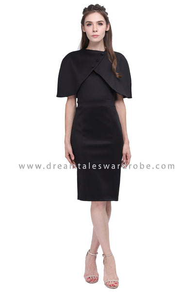 DT1187 Cape Details Pencil Dress - Black