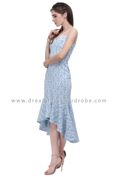 DT1188 Jacquard Mermaid Hem Dress -  Blue