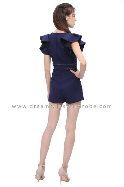 DT1190 Ruffles Sleeves Playsuit - Blue