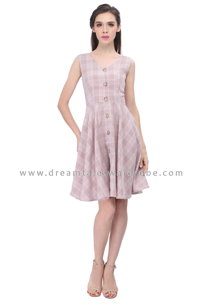 DT1191 Checkered Fit & Flare Dress -  Pink