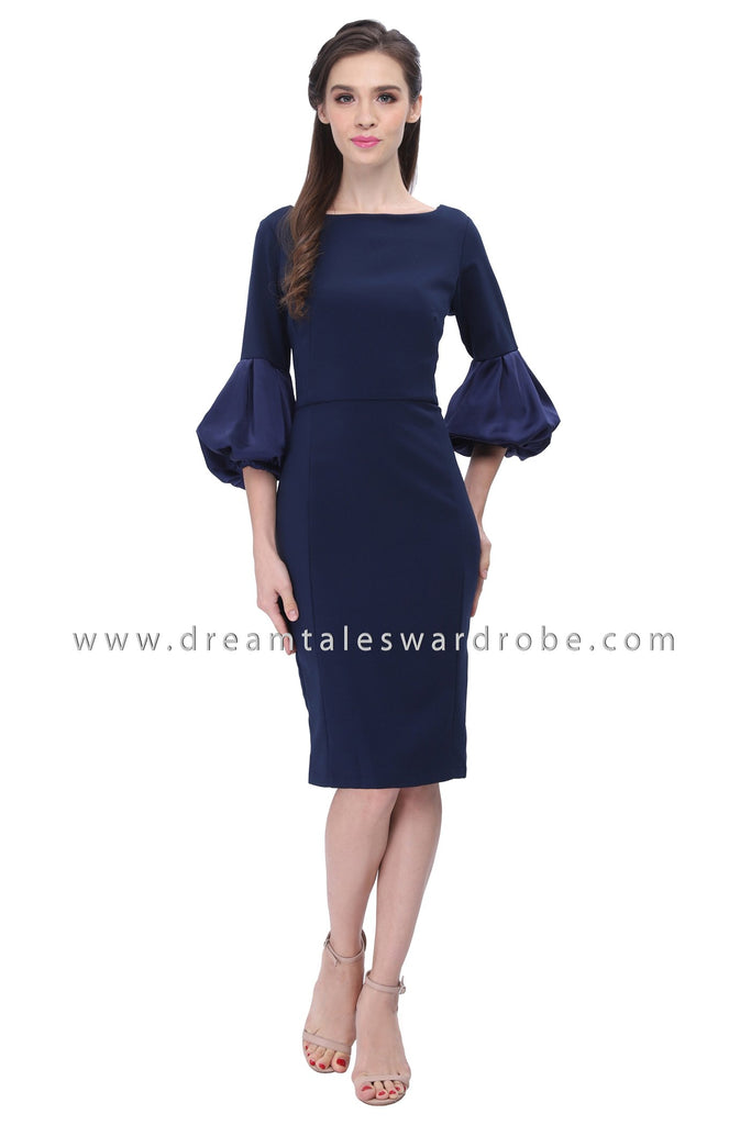 DT1192 Puffy Sleeves Fitted Dress -  Blue