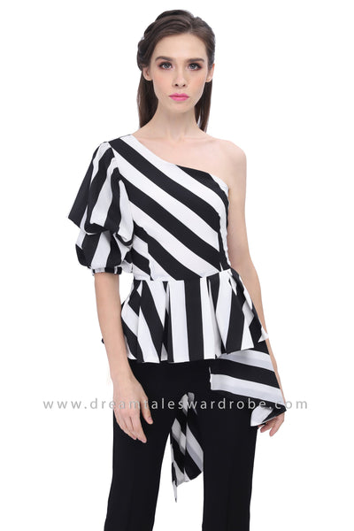 DT1193 Monochrome One Shoulder Culotte Jumpsuit -  Monochrome