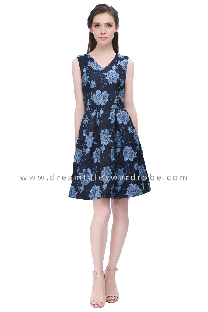 DT1196 Textured Floral Fit & Flare Dress -  Blue