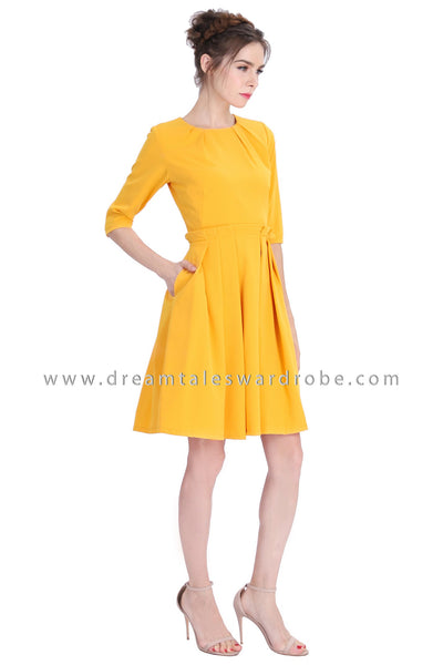 DT1208 Pleated Paperdoll Quarter Sleeves Dress -  Mustard Yellow