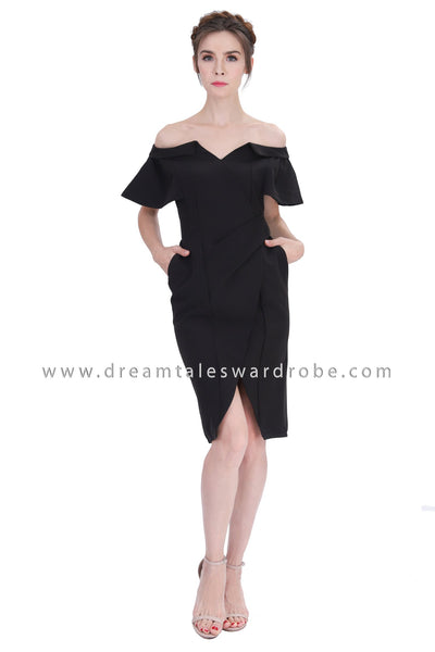 DT1214 Wrap Bardot Pencil Dress - Black