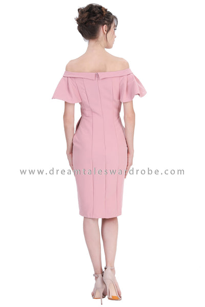 DT1214 Wrap Bardot Pencil Dress -  Pale Pink