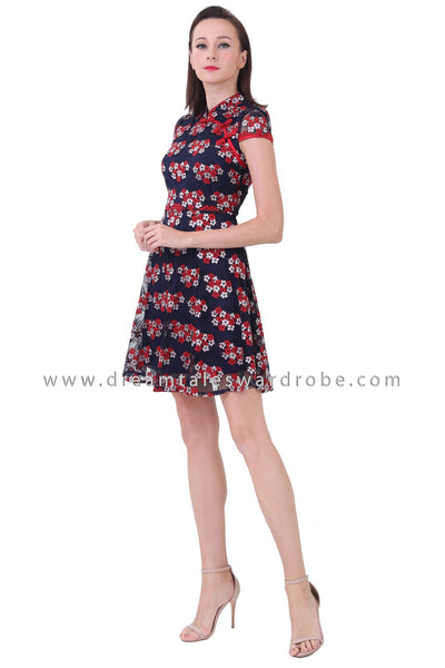 DT1222 Lace Fit & Flare Cheongsam - Blue