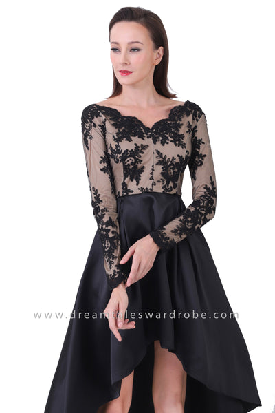 DT1223 Lace Asymmetrical Hem Prom Dress - Black