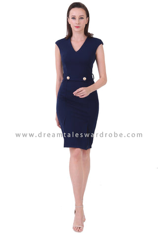 DT1224 V Neck Slit Details Pencil Dress -  Blue