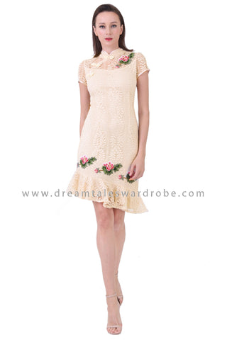 DT1226 Floral Applique Asymmetrical Cheongsam Dress - Cream