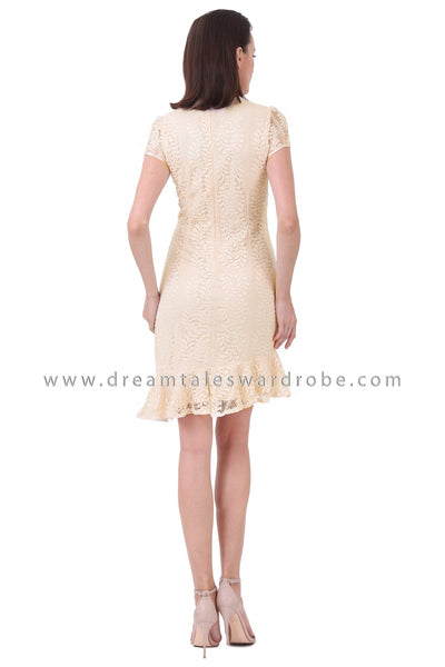 DT1250 Floral Applique Asymmetrical Cheongsam Dress - Cream