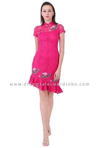 DT1226 Floral Applique Asymmetrical Cheongsam Dress -  Pink
