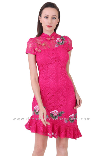 DT1250 Floral Applique Asymmetrical Cheongsam Dress -  Pink