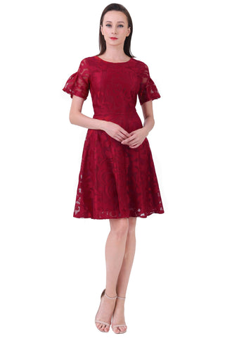 DT1227 Lace Flare Sleeves Fit & Flare Dress -  Maroon