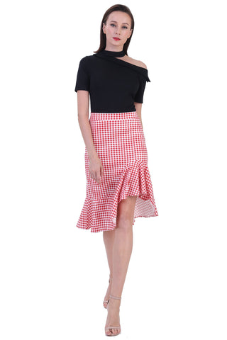 DT1228 Deconstructed Shoulder Contrast Checkered Dress -  Red Checks