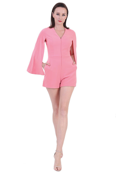 DT1229 Capelet V-Neck Playsuit -  Pink