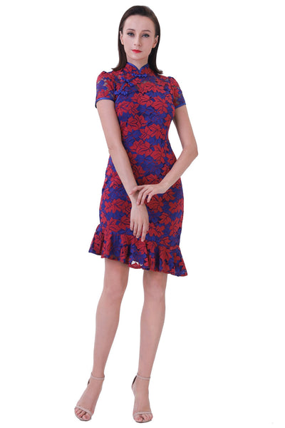 DT1230 Floral Lace Ruffle Hem Cheongsam Dress - Blue