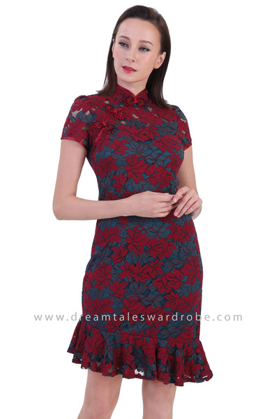 DT1230 Floral Lace Ruffle Hem Cheongsam Dress -  Teal