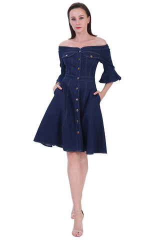 DT1231 Shoulder Free Denim Dress -  Blue