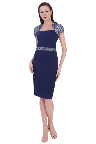 DT1233 Square Neck Contrast Sleeve Pencil Dress - Blue