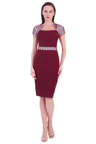 DT1233 Square Neck Contrast Sleeve Pencil Dress - Maroon