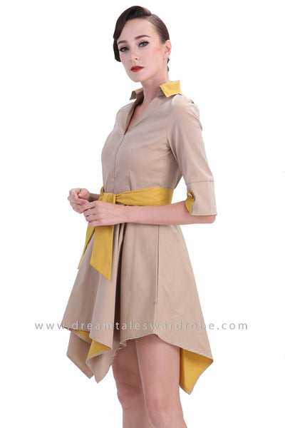 DT1234 Collared Handkerchief Hem Mini Dress - Khaki