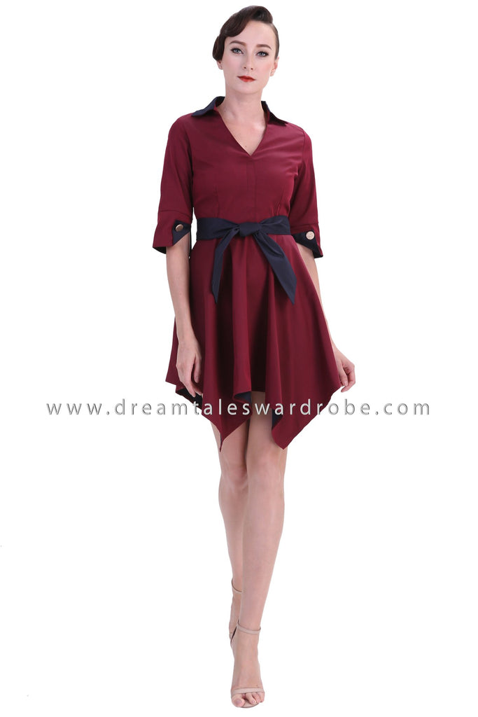 DT1234 Collared Handkerchief Hem Mini Dress -  Maroon
