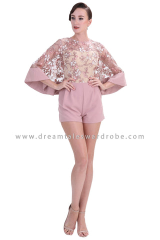 DT1236 Floral Embroidered Flared Sleeve Playsuit -  Pink