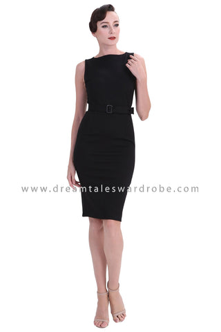 DT1237 Boatneck Bodycon Dress - Black