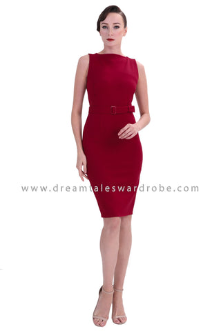 DT1373 Boatneck Bodycon Dress - Maroon