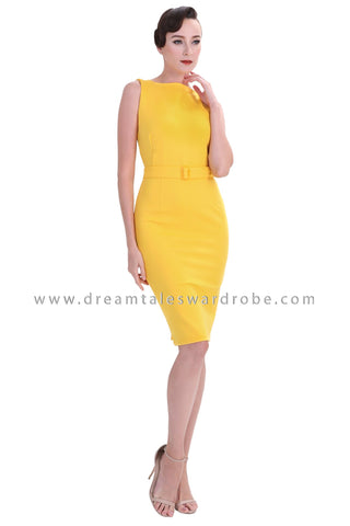 DT1237 Boatneck Bodycon Dress -  Yellow