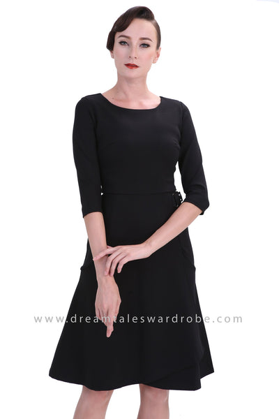 DT1238 Retro Fitted Sleeve Midi Dress - Black