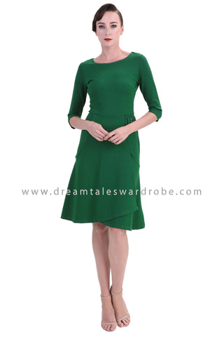DT1238 Retro Fitted Sleeve Midi Dress - Green